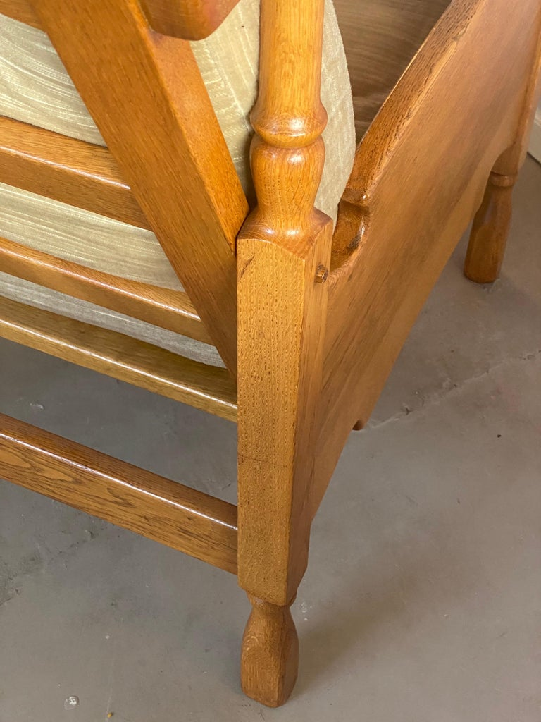 Dutch Castle Lounge Chair in Oak, with Sheep Hide For Sale 2