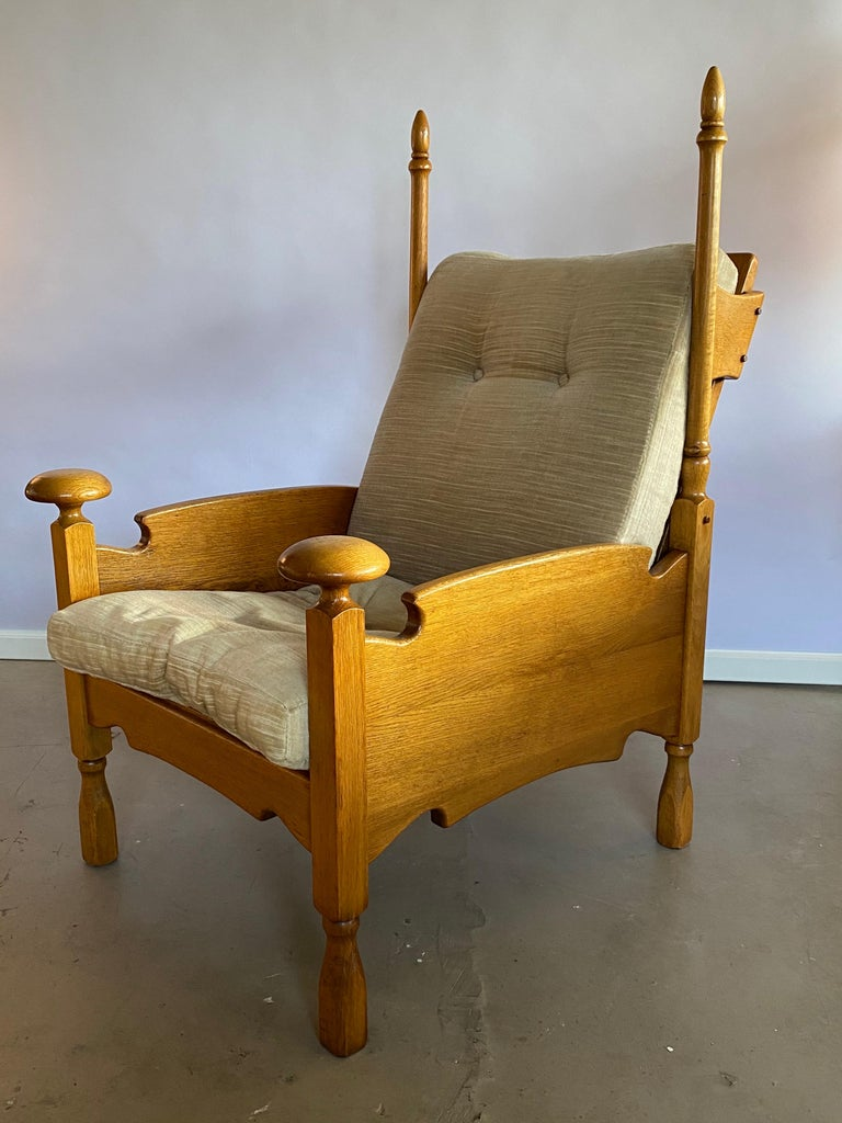 Rare and very unusually shaped light oak lounge chairs - castle model chairs with the arm knobs and the high Horn shaped rods at the back. They have a silvery beige/green velvet-like upholstery (with zippers, so very easy to reupholster) and are