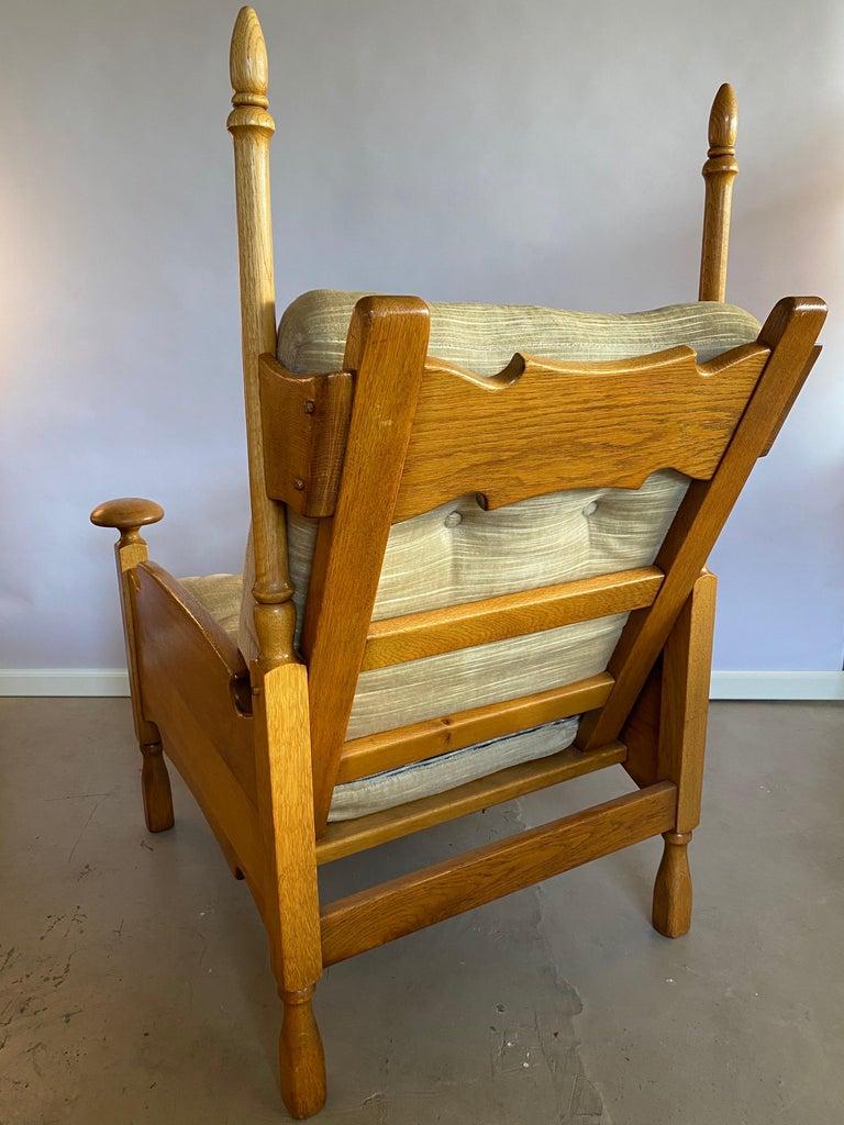 European Dutch Castle Lounge Chair in Oak, with Sheep Hide For Sale