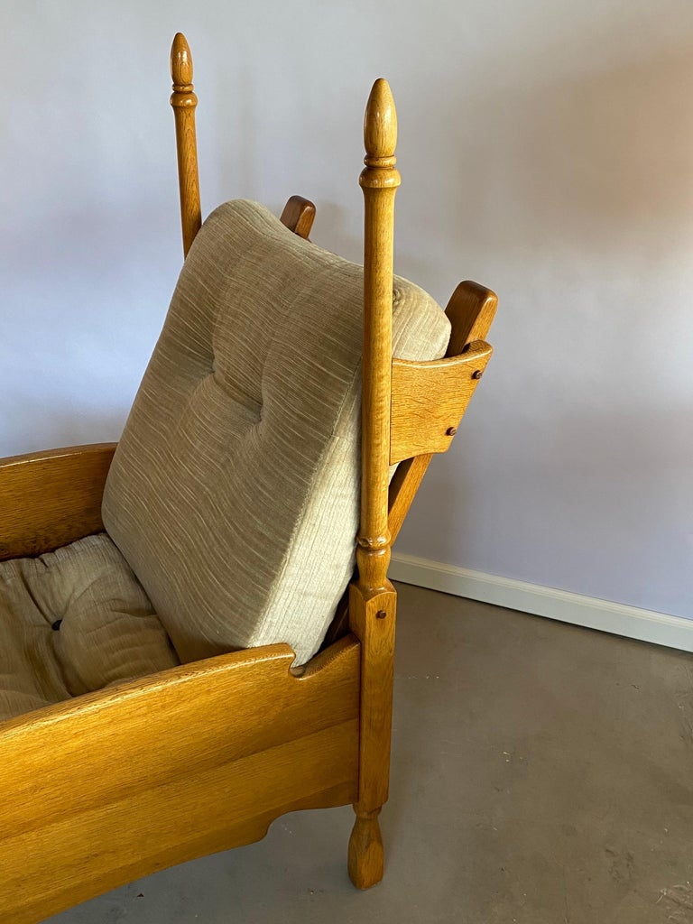 Lacquered Dutch Castle Lounge Chair in Oak, with Sheep Hide For Sale