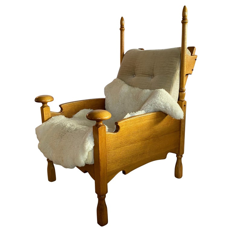 Dutch Castle Lounge Chair in Oak, with Sheep Hide For Sale