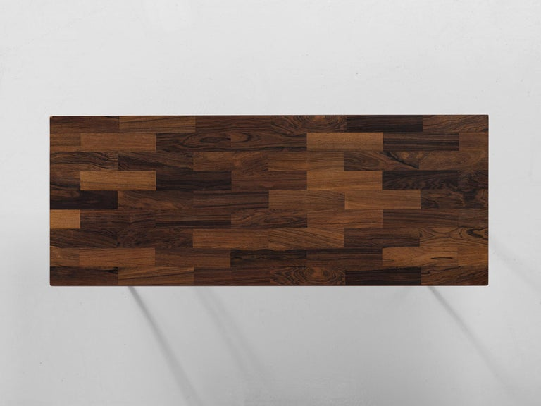 Mid-Century Modern Dutch Coffee Table in Rosewood and Steel by Fristho For Sale