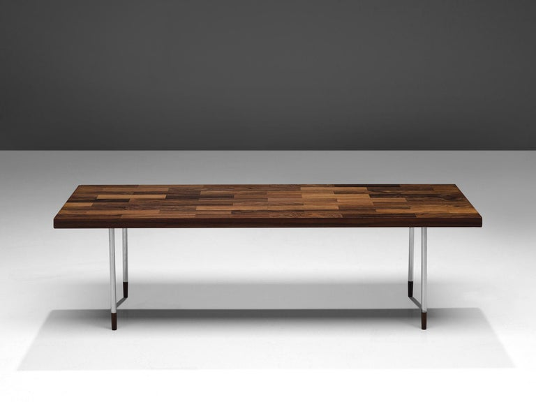 Dutch Coffee Table in Rosewood and Steel by Fristho In Good Condition For Sale In Waalwijk, NL