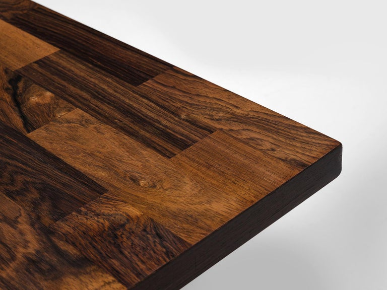 Mid-20th Century Dutch Coffee Table in Rosewood and Steel by Fristho For Sale