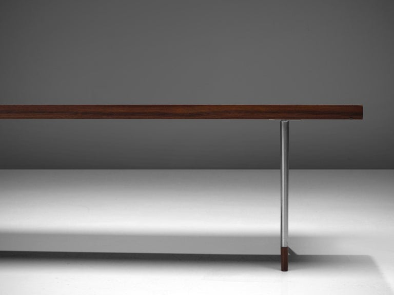 Dutch Coffee Table in Rosewood and Steel by Fristho For Sale 1