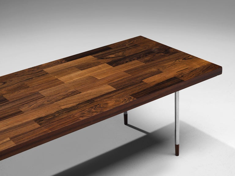 Dutch Coffee Table in Rosewood and Steel by Fristho For Sale 2