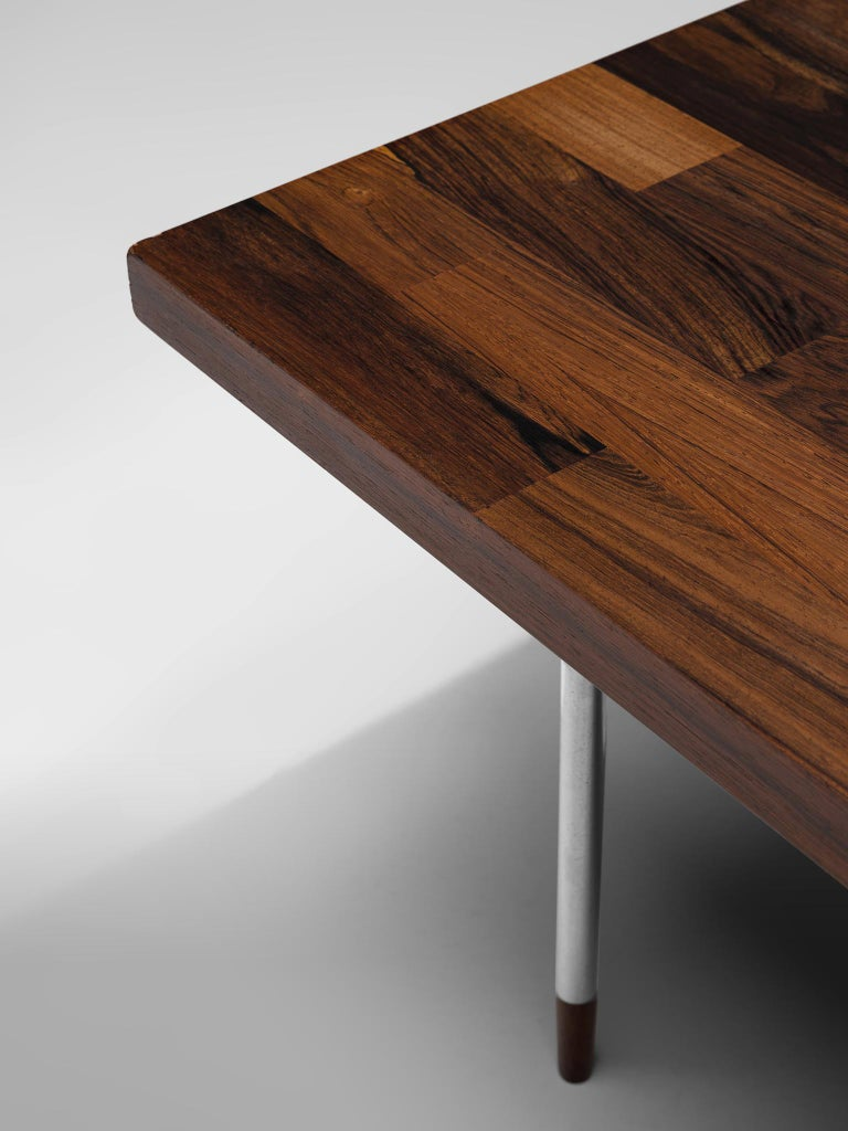 Dutch Coffee Table in Rosewood and Steel by Fristho For Sale 4