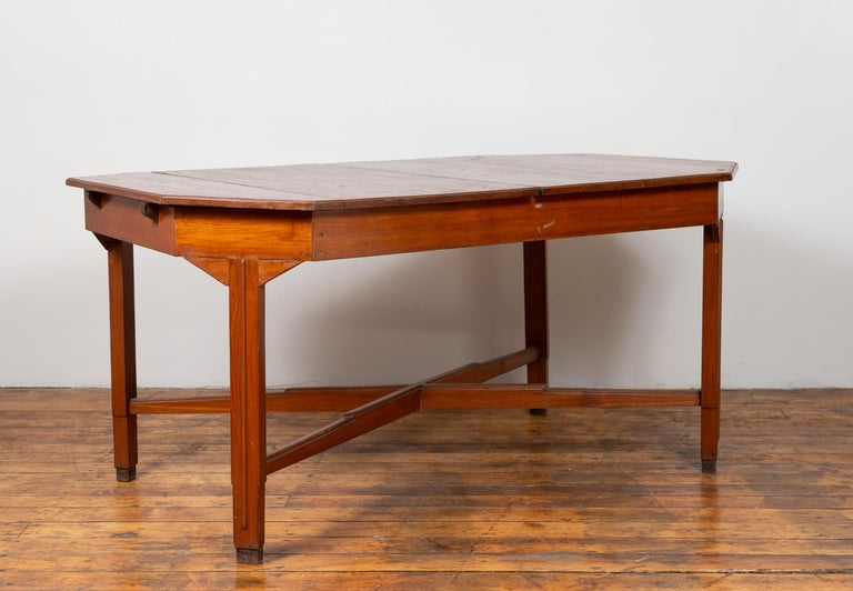 Wood Dutch Colonial Antique Extension Dining Table with Folding Central Leaf For Sale