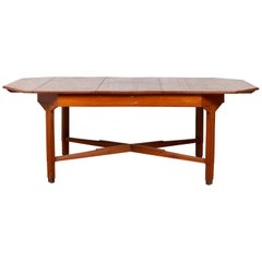 Dutch Colonial Antique Extension Dining Table with Folding Central Leaf