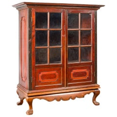 Dutch Colonial Antique Lacquered Wood Cabinet with Glass Doors and Cabriole Legs