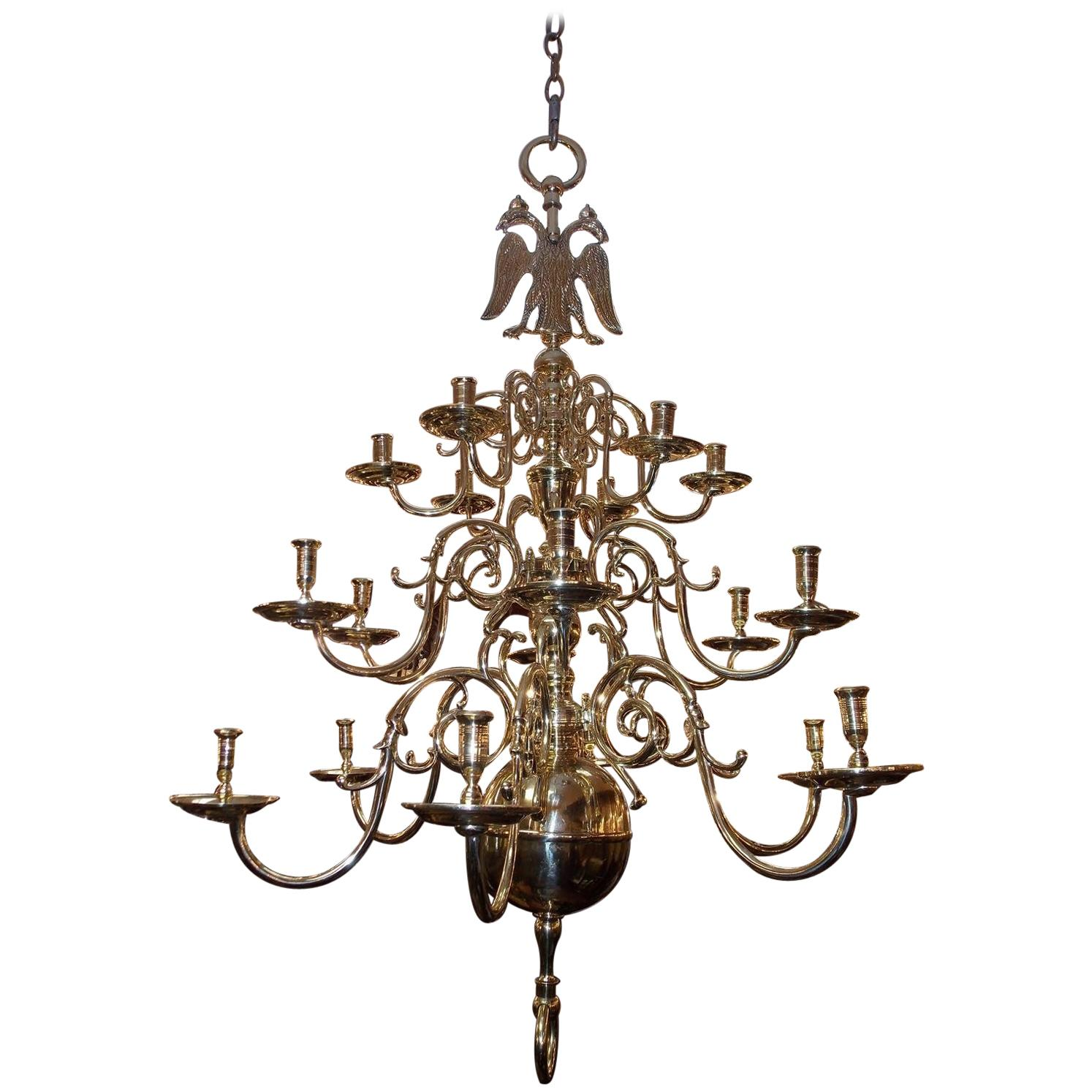 Dutch Colonial Brass Three-Tiered Bulbous Double Eagle Chandelier, Circa 1740