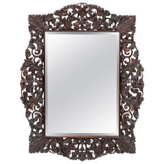 Dutch colonial carved wall mirror
