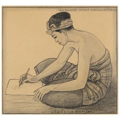 Dutch Colonial Drawing by WOJ Nieuwenkamp - Artist Ketut Diding, Bali, 1937