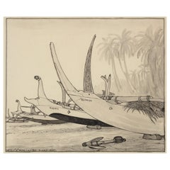 Dutch Colonial Drawing by WOJ Nieuwenkamp - Beach of Kusambe, Bali (Year 1937)