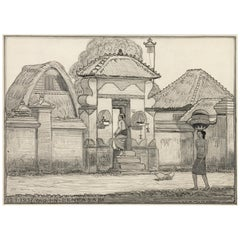Dutch Colonial Drawing by WOJ Nieuwenkamp - Denpasar, Bali (1937)