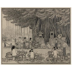 Dutch Colonial Drawing by WOJ Nieuwenkamp - Four Balinese, Bali (Year 1910)