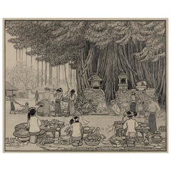 Dutch Colonial Drawing by WOJ Nieuwenkamp, Market under the Banyan, Bali, 1937