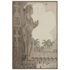 Dutch Colonial Drawing by WOJ Nieuwenkamp - Stone Statue, Madura, India (1914)