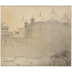 Dutch Colonial Drawing by WOJ Nieuwenkamp - Taj Mahal, Agra, India (1914)