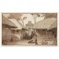 Dutch Colonial Drawing by WOJ Nieuwenkamp - Village, North Bali (1906)