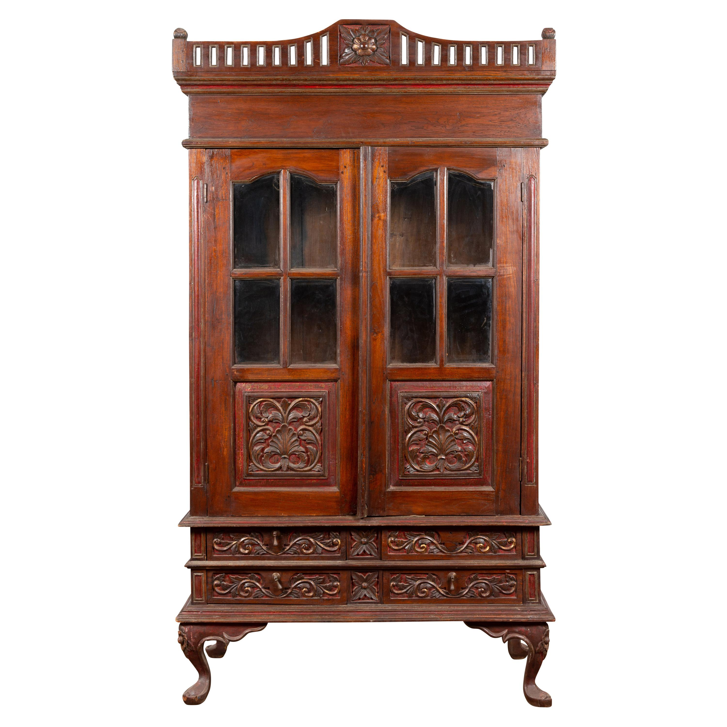 Dutch Colonial Early 20th Century Indonesian Display Cabinet with Carved Motifs