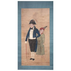 Dutch Colonial Japanese Scroll Painting of Chief Merchant Doeff