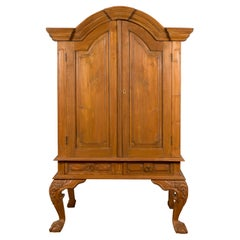 Dutch Colonial Late 19th Century Teak Cabinet with Bonnet Top and Cabriole Legs