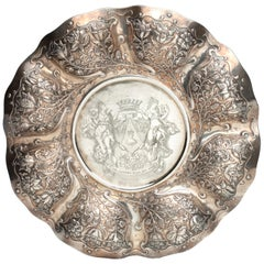 Dutch Colonial Silver Dish with the Von Pfeffel Coat-of-arms, 17th Century