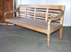 Dutch Colonial Teak Wood Garden Bench