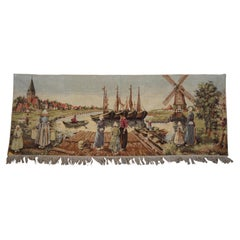 Dutch Country Landscape Needlepoint Tapestry Harbor Windmill Figures Boats
