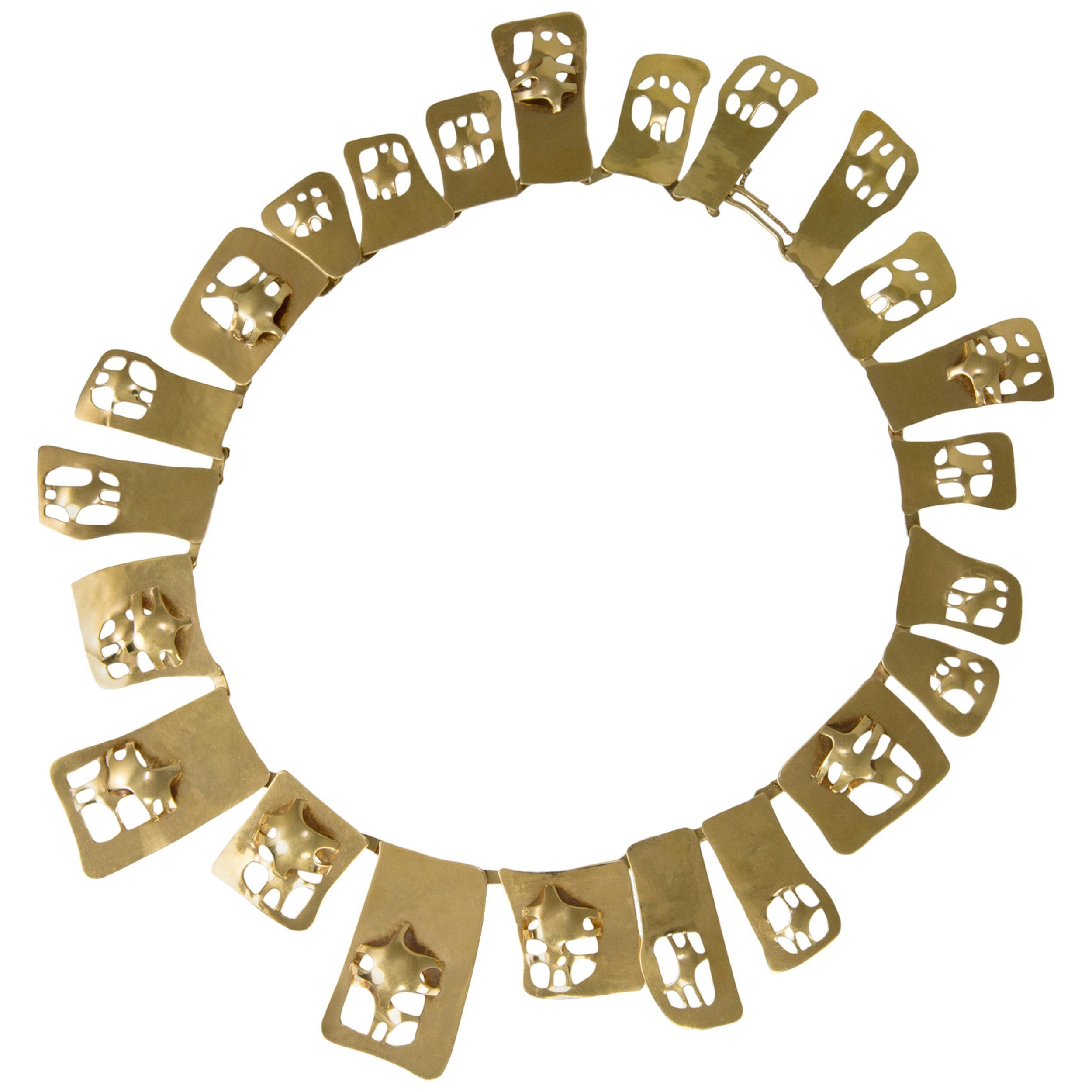 c. 1980 Dutch C.Y. Noomen Gold Cut-Out Collar Necklace