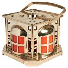 Dutch De Stijl Nickel & Bakelite Square Oil Lamp/Table Warmer by Daalerdrop Tiel