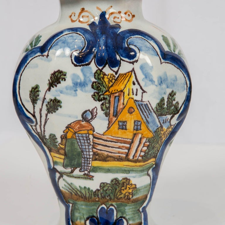 Hand-Painted Dutch Delft 5 Piece Mantle Garniture 18th Century Made by Quirinus Mesch For Sale