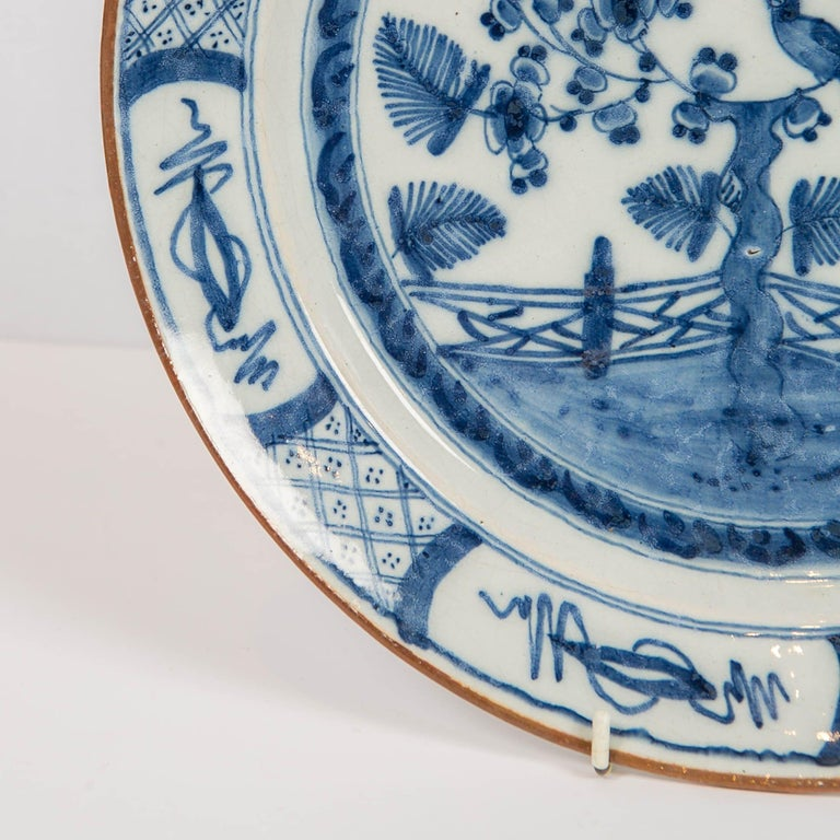 Rococo Dutch Delft Blue and White Charger with Bird Made circa 1770 For Sale