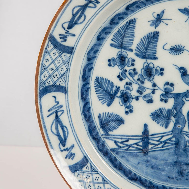 Hand-Painted Dutch Delft Blue and White Charger with Bird Made circa 1770 For Sale