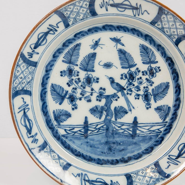 18th Century Dutch Delft Blue and White Charger with Bird Made circa 1770 For Sale