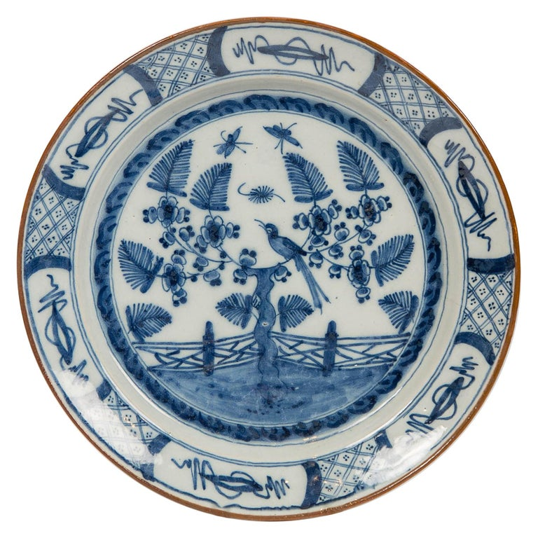 Dutch Delft Blue and White Charger with Bird Made circa 1770 For Sale