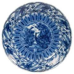 Dutch Delft Blue and White Charger with Crane and Butterflies Made, circa 1770
