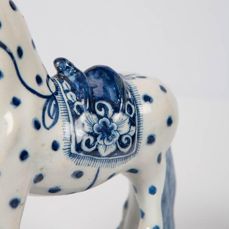 Dutch Delft Blue and White Horse 18th Century Made circa 1780 For Sale 3