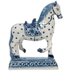 Dutch Delft Blue and White Horse 18th Century Made circa 1780