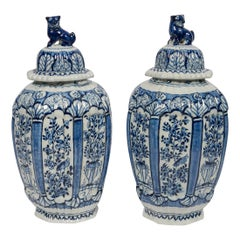 Delft Blue and White Jars with Lion Finials Made circa 1780