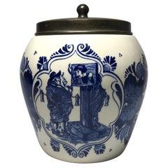 Dutch Delft Blue White Glazed Humidor Tobacco Jar Stocks Inscription Midcentury