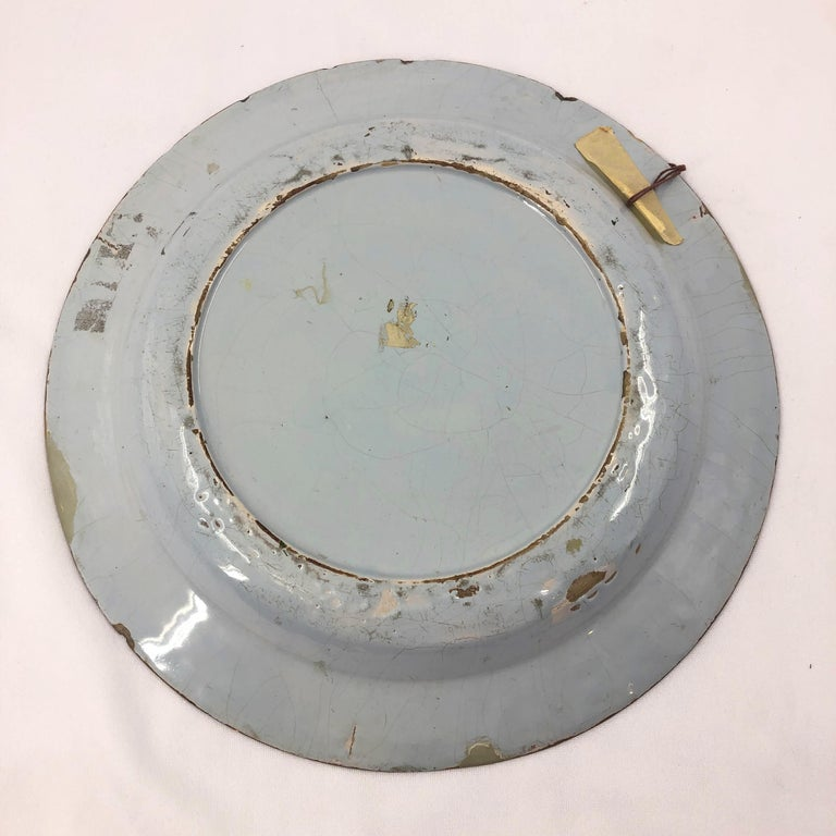 Dutch Delft Charger In Distressed Condition For Sale In New York, NY