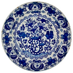 Dutch Delft Chinoiserie Faïence Tin-Glazed Floral Cobalt Blue Charger
