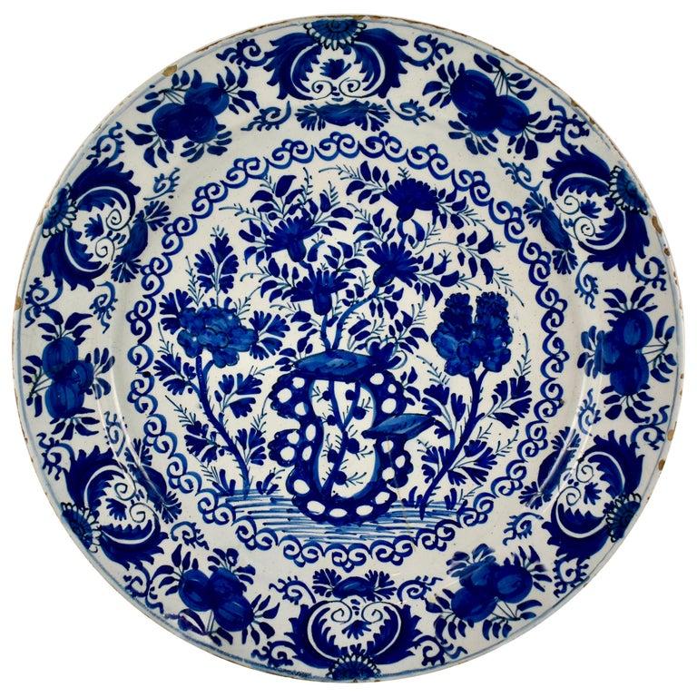 Dutch Delft Chinoiserie Faïence Tin-Glazed Floral Cobalt Blue Charger For Sale