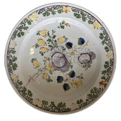 Dutch Delft Floral Polychrome Charger, 18th Century