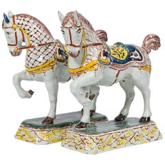 Dutch Delft Horses Hand Painted in Polychrome Colors Made Mid-19th Century, Pair