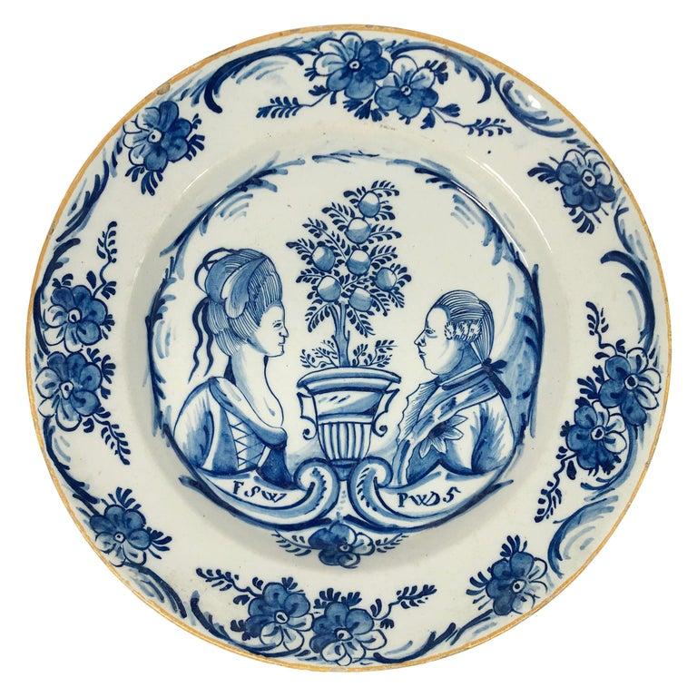 Dutch Delft Orangist Double Portrait Dish by De Porceleyne Lampetkan For Sale