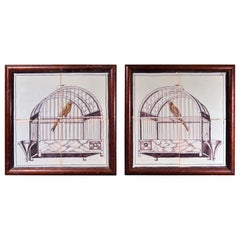 Dutch Delft Pair of Framed Tiles with Birds in Birdcages