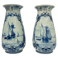 Dutch Delft Porceleyne Fles Flower Vases, 1890